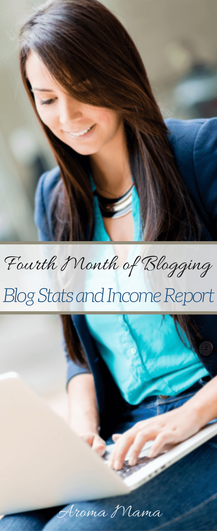 This is Aroma Mama's blog income report for her fourth month of blogging. She shares blog stats, income, expenses, how she made her blog income, what she learned, and goals for next month.