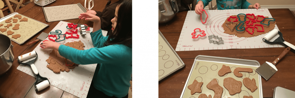 Quality time with kids making Christmas cut-out cookies