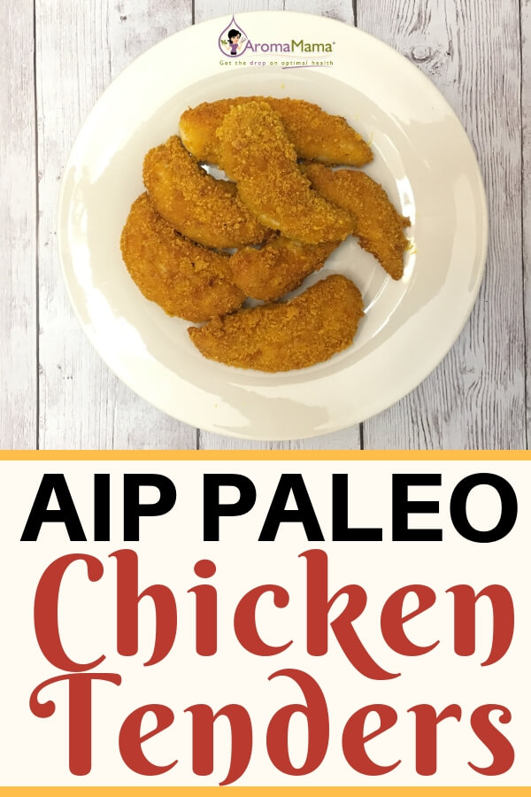 Paleo Style Chicken Tenders on a White Plate