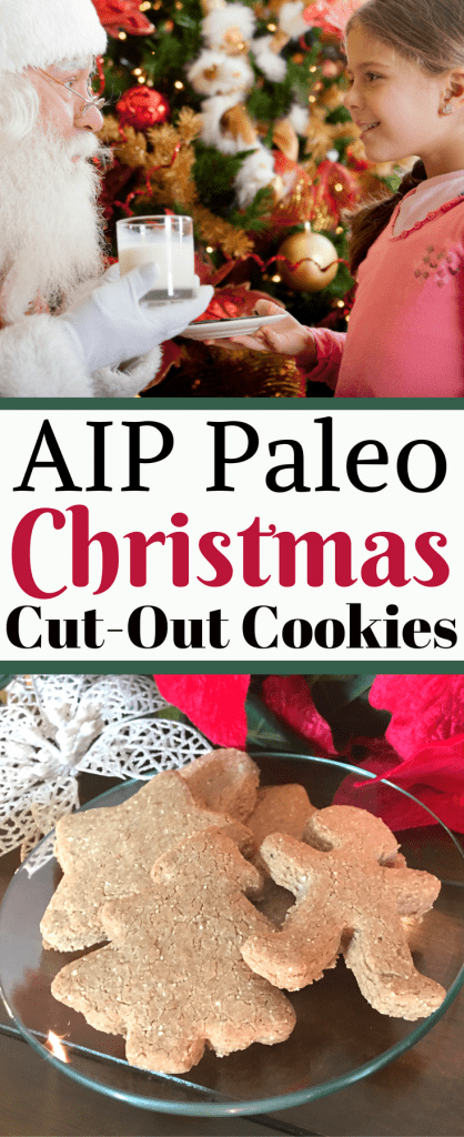AIP Paleo Christmas Cut-Out Cookies on plate and Santa