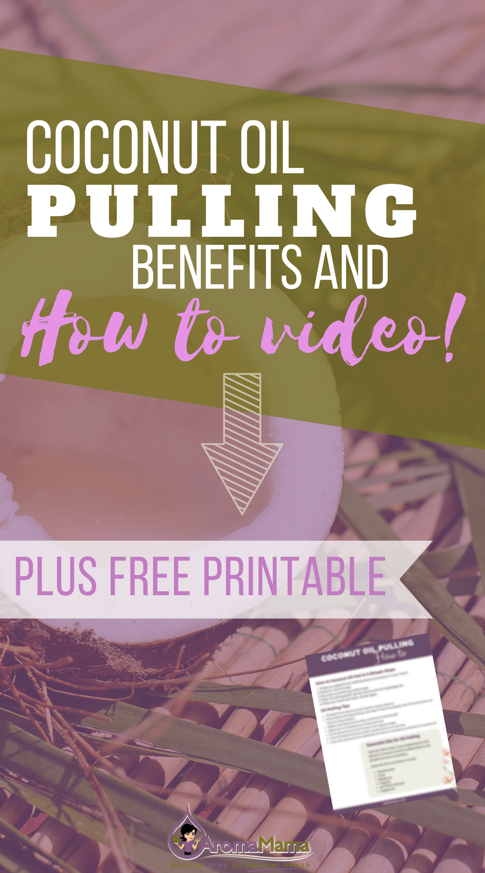 Learn the benefits of coconut oil pulling and watch a video on how to coconut oil pull with essential oils. Plus, get a PDF printable with the five easy steps to coconut oil pulling success.