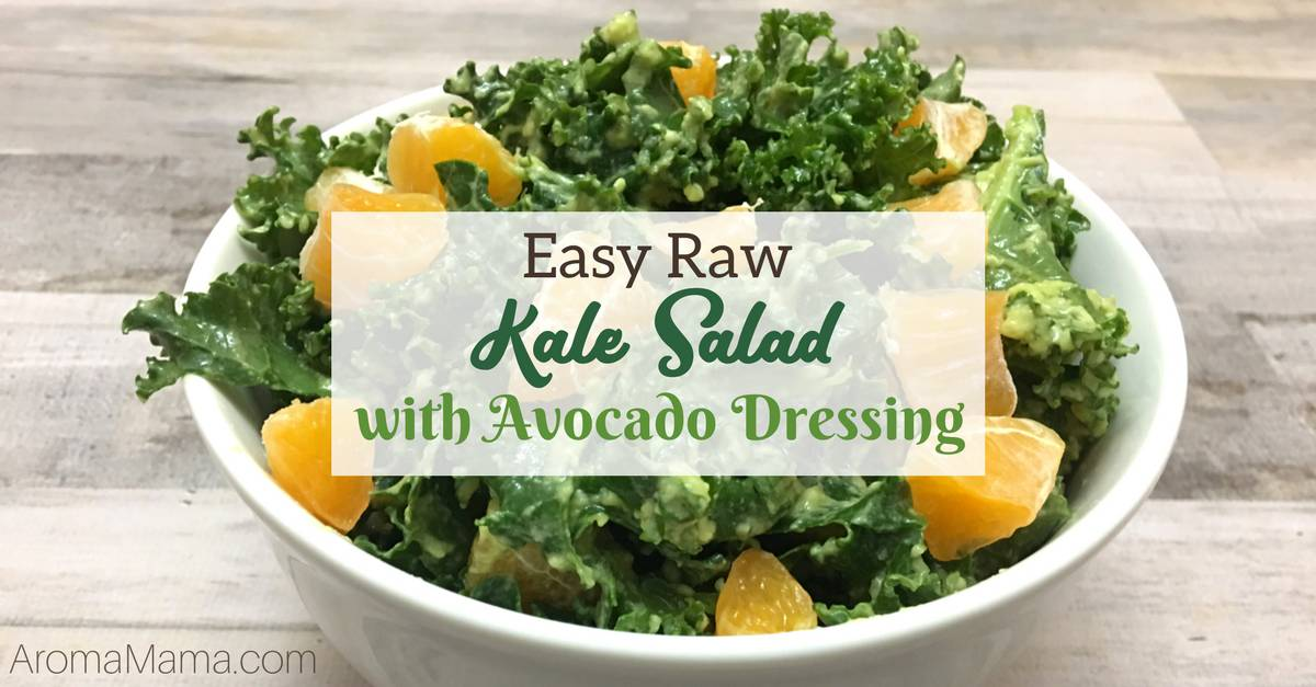 Easy Raw Kale Salad with Avocado Dressing