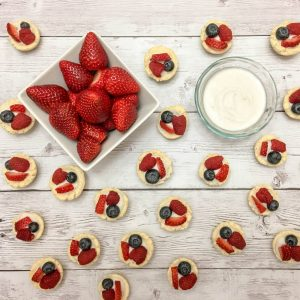 Fruit Tarts with Coconut Cream, Strawberries, Raspberries, and Blueberries