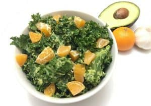 Kale Salad with Avocado Dressing and Mandarins